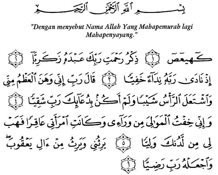 doa nabi zakaria dalam alquran saat memohon keturunan
